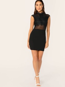 198a3f42bd Sheer Lace Bodice Bodycon High Neck Mini Dress | SHEIN