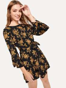 Floral Print Self Tie Dress