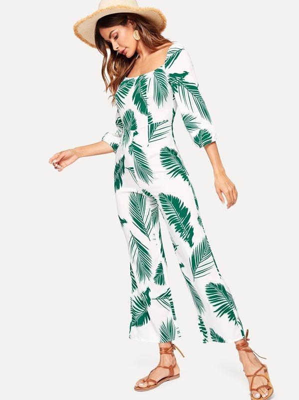 outlet online buy good order Palm Tree Print Jumpsuit