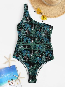 Random Botanical Print One Shoulder One Piece Swimsuit