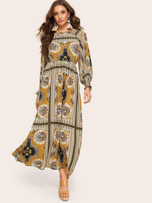 41fd4a9423 Shirred Cuff Raglan Sleeve Scarf Print Dress