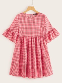 Flounce Sleeve Gingham Print Smock Dress