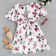 Cutout Back Knot Front Flutter Sleeve Floral Dress