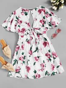 Cutout Back Knot Front Flutter Sleeve Floral Dress