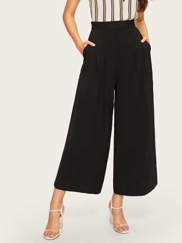 Shein Zip Side Slant Pocket Wide Leg Pants by Sheinside