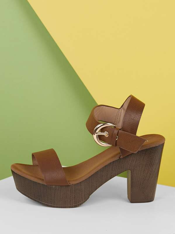 c1ea8df5b Ankle Strap Wood Detail Platform Sandals