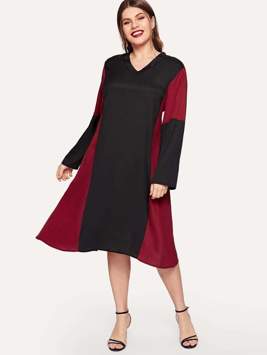 Plus Contrast Panel V Neck Dress by Sheinside