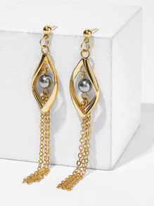 Ball Detail Chain Tassel Drop Earrings 1pair