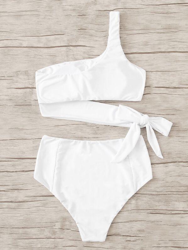 8b626000b2 One Shoulder Bow Tie Bikini Set | SHEIN