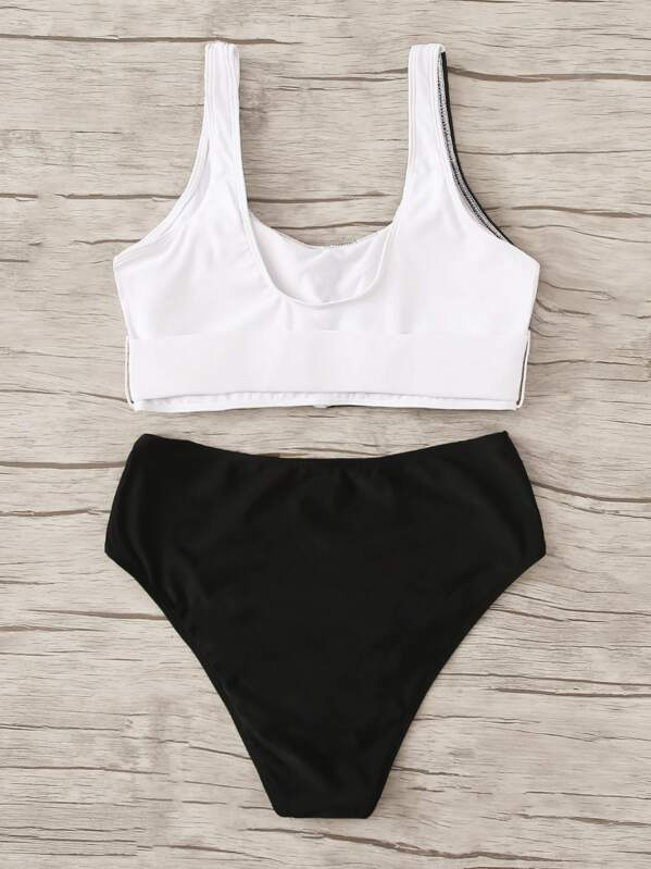 ab50cb4e153bfb Cut And Sew Buckle Front Top With High Waist Bikini