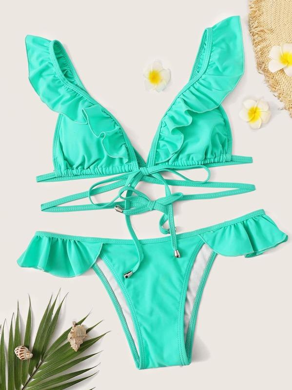 eb6845e1c788 Ruffle Strap Top With Tanga Panty Bikini Set | SHEIN UK