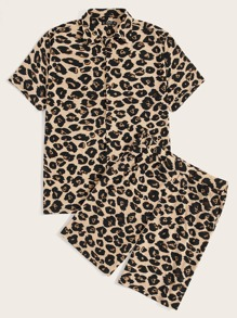 Guys Leopard Print Shirt & Slant Pocket Shorts PJ Set