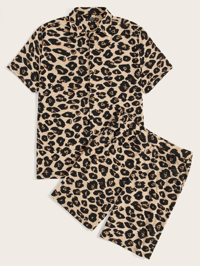 8c1983391c92 Guys Leopard Print Shirt & Slant Pocket Shorts PJ Set