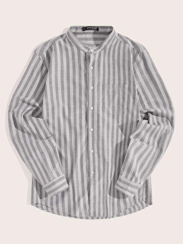 cc03325eac Men Single Pocket Band Collar Striped Shirt | SHEIN