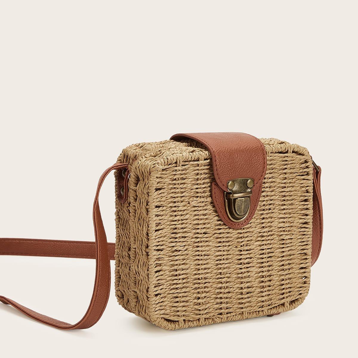 Квадратная сумка через плечо из соломенной ткани