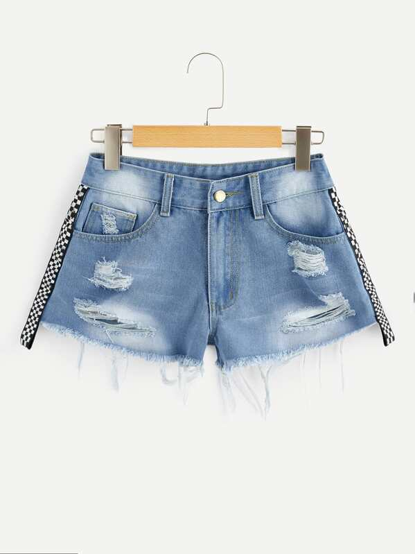 078e9500bc60 Shredded Checkered Ripped Faded Denim Shorts | SHEIN