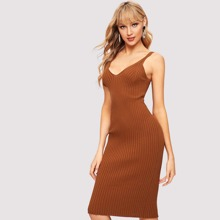SHEIN | Ribbed Knit Sweater Cami Dress | Goxip
