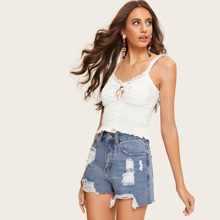 Sweaters Frill Strap Shirred Crop Top