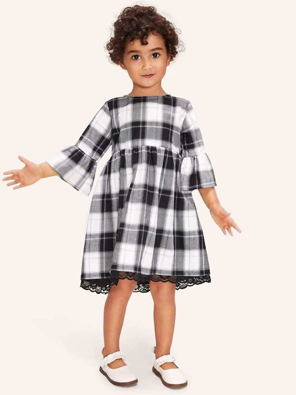 281bf5f899 Cheap Toddler Girls Contrast Lace Plaid Babydoll Dress for sale Australia