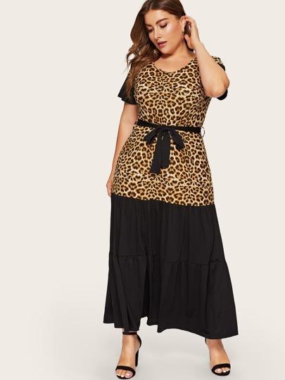 8e6e17bbd22 Plus Leopard Print Panel Ruffle Hem Dress
