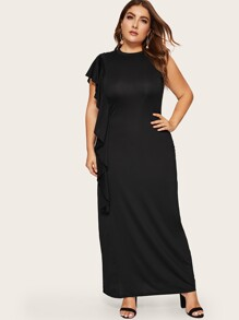 Plus Solid Flounce Trim Dress
