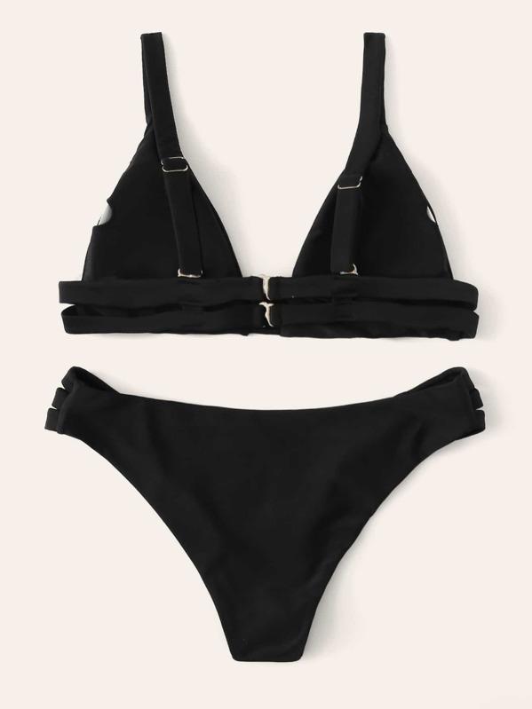 b2a3db2b96 Triangle Top With Ladder Cut-out Bikini Set   SHEIN