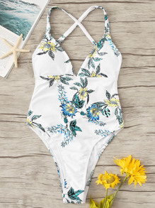 Floral Cross Back One Piece Swimsuit