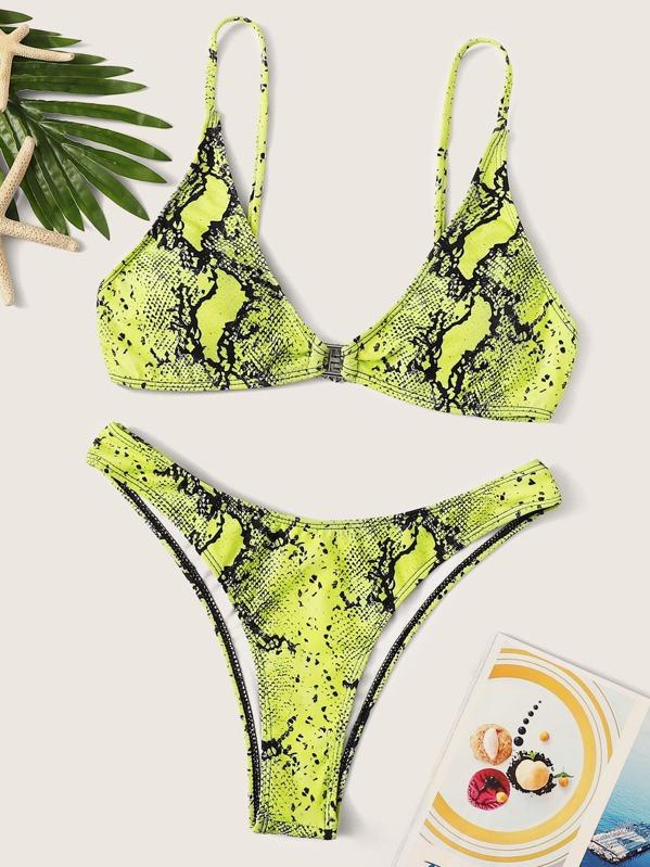 822f5b29f79b71 Neon Yellow Snake Skin Print Top With Panty Bikini