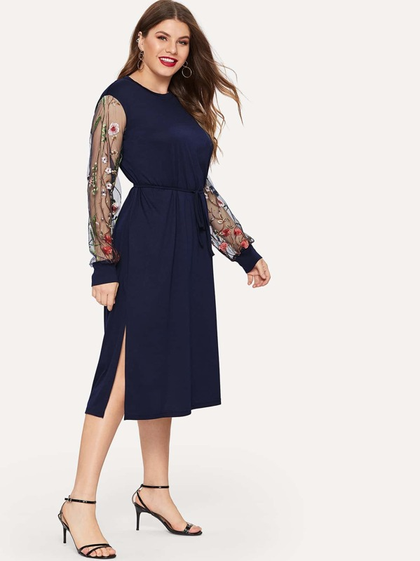 1d0d8020f1 Plus Contrast Mesh Sleeve Embroidered Split Dress | SHEIN