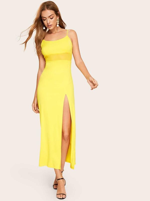 Neon Yellow Mesh Insert Split Cami Dress by Shein