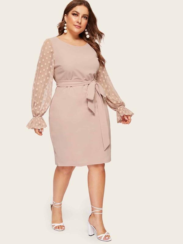 b4ea98408182 Plus Dot Mesh Flare Sleeve Belted Pencil Dress | SHEIN UK