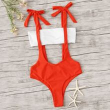 Bandeau With Knotted Suspender Two Piece Swimwear