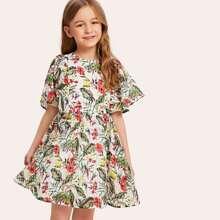 Girls Flutter Sleeve Tropical Smock Dress