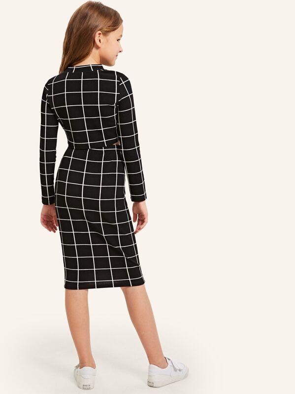 1baa2ff8e5ae Girls Mock Neck Grid Crop Top & Skirt Set   SHEIN IN