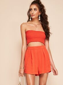 Shirred Bandeau Top and Pleated Shorts Set