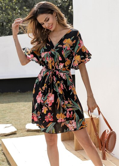 Floral Print Flounce Sleeve Tie Waist Dress