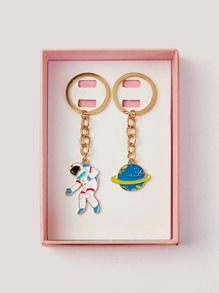 Spaceman & Planet Shaped Keychain 2pack