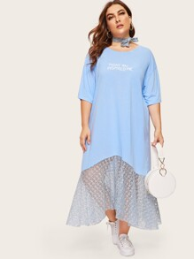 Plus Contrast Lace Letter Print Dress