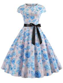 50s Butterfly And Floral Print Belted Dress