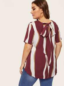 Plus Striped Knot Back Blouse