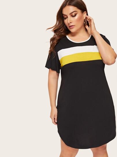 ce781fbfb59 Robe t-shirt avec blocs de couleurs