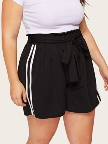 Plus Striped Tape Side Belted Shorts