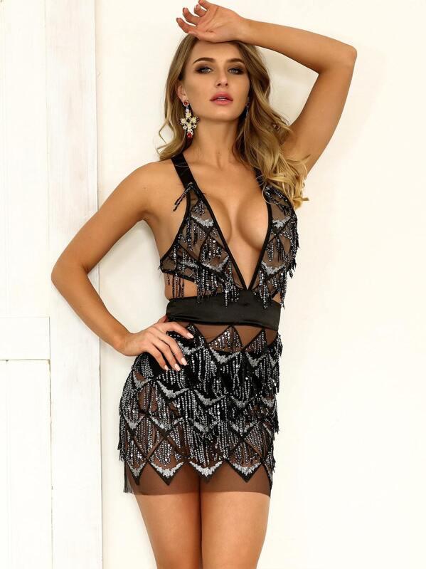 a3b277ff69 Joyfunear Plunging Neck Crisscross Back Sequin Detail Mesh Dress | SHEIN