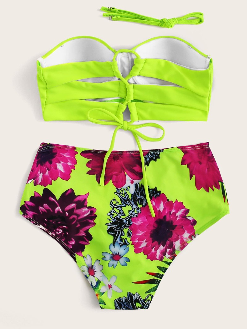 6fb9074bed Neon Lime Bandeau With Floral High Waist Bikini