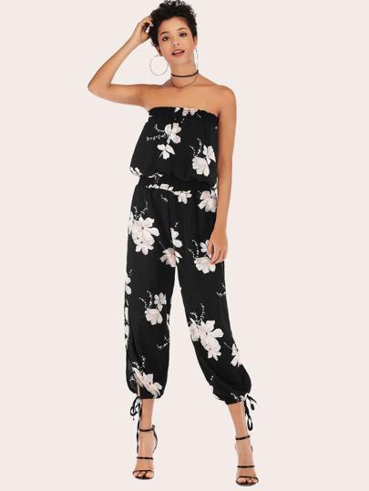 26c3f314b4 Floral Print Knot Hem Tube Jumpsuit