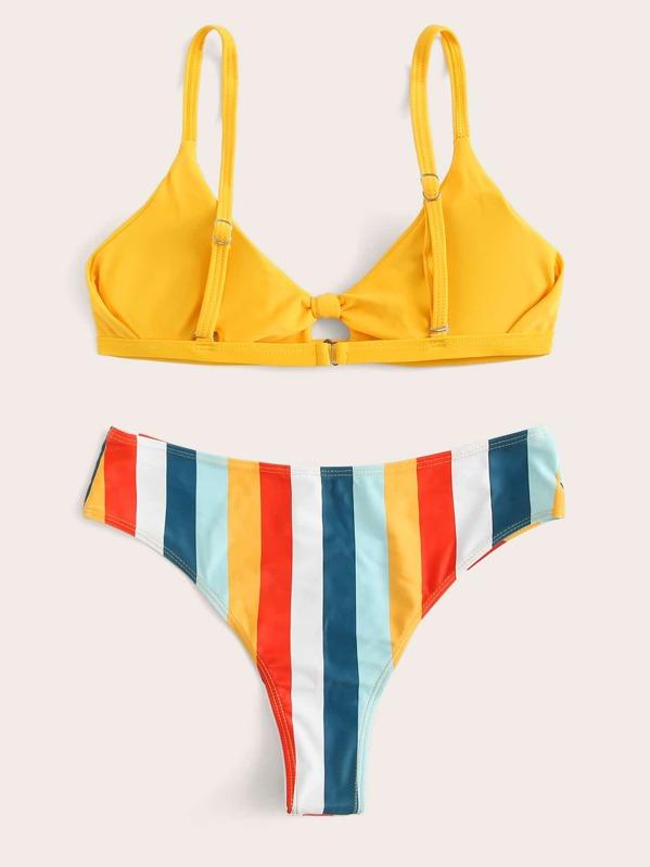 Set De Top Bikini Con Cordón Delantero Rayas rBexQdCWo