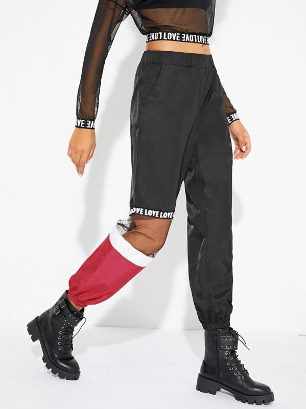 1d1cb2b9cc39b Elastic Waist Mesh Panel Cut And Sew Pants | SHEIN