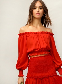 Frill Trim Shirred Cuff Bardot Crop Top