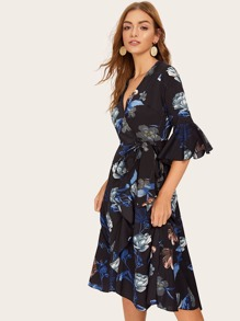 Ruffle Trim Belted Wrap Floral Print Dress