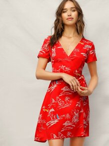 Surplice Wrap Knot Tropical Print Dress